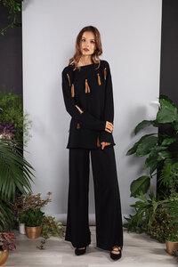 Strickpullover navy-blau oder schwarz mit Woll-Zöpfen handgemacht  - SinWeaver alternative fashion