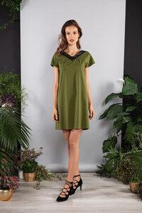 Kurzes Kleid gerade grün Viskose kurzarm - SinWeaver alternative fashion