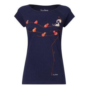 Damen T-Shirt Spatzerl Dunkelblau Bio Fair - FellHerz