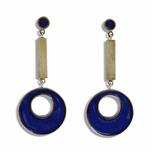 Ohrringe Brass Blue, Messing und Emaille - ting goods