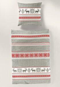 Biber Bettwäsche Winterdessin grau/rot mit Hirsche  für die kalte Jahreszeit - bierbaum
