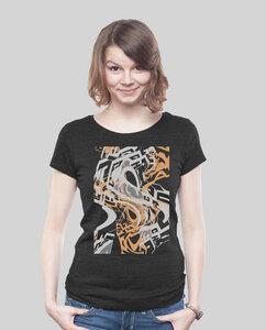 Low Cut Shirt Women Dark Heather Black Distorsion - SILBERFISCHER