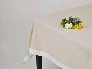 Halbleinen Tischdecke Natur mit weißem Rahmensaum versehen - Marschall & Riedler