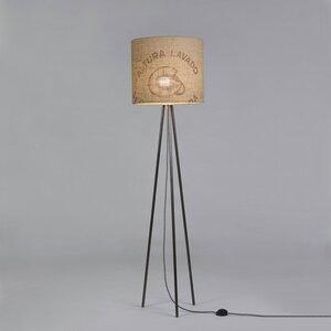 Stehleuchte Tripod-Perlbohne N°12 aus Stahl und Kaffeesack - lumbono