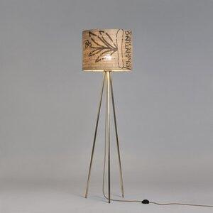 Stehleuchte Tripod-Perlbohne N°73 aus Stahl und Kaffeesack - lumbono
