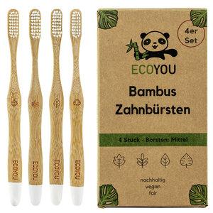 Bambus Zahnbürsten 4er Set - Vegane Holzzahnbürste - Borsten: Mittel - EcoYou