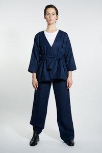 Kimono Jacke aus Wollmix - Navy - LUXAA
