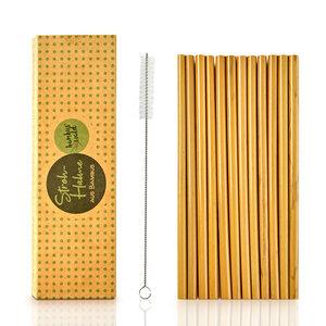 12er-Pack Strohhalme aus 100% Bambus Inklusive Reinigungsbürste  - Bambuswald