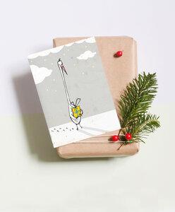 """Postkarte """"Gans mit Geschenk"""" - noull"""