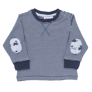 Baby Langarmshirt dunkelblau geringelt Bio - People Wear Organic