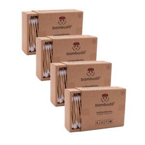 4er Pack Wattestäbchen aus Bambus von bambudō®  - bambudō