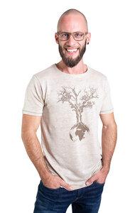 """Hanf Shirt für Herren """"Weltenbaum"""" in Natur - Life-Tree"""