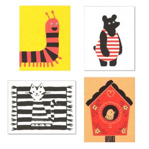 4 tierische Grußkarten - Lisa Jones