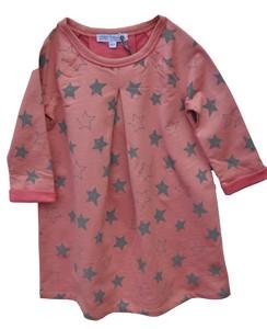 Kleid Langarm Mädchen atlrosa mit grau Sternen 100% Baumwolle ( bio)  - Enfant Terrible