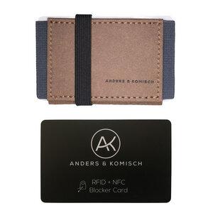 Kleiner Geldbeutel mit RFID- & NFC Schutz –A&K MINI Bundle Braun - ANDERS & KOMISCH