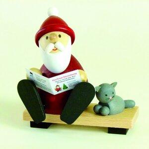 Weihnachtsmann mit Zeitung und Katze - aus dem Erzgebirge - Ullrich Neuhausen