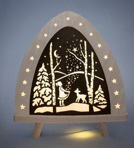 Kleine Standleuchte 3 Motive wählbar,wird aus FSC zertifiziertem Sperrholz gefertig. mit LED Lampe - Weigla® Holzkunst