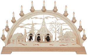 Schwibbogen Lichterbogen Seiffener Kirche mit Figuren mit 11 elektr.Kerzen - KWO Olbernhau