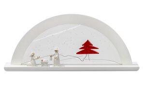 Moderner Schwibbogen LED Beleuchtung 'Rote Tanne ' Erle natur mit Glas 3 Holzarten wählbar - KWO Olbernhau