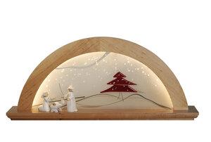 """Moderner Schwibbogen LED Beleuchtung """"Rote Tanne """" Erle natur mit Glas 3 Holzarten wählbar - KWO Olbernhau"""