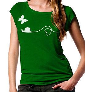 Schnecke und Schmettelring Bambus-T-Shirt in grün - Picopoc