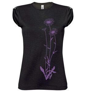 Blumen Top / T-Shirt  in Schwarz und Violett / Lila für Frauen - Picopoc