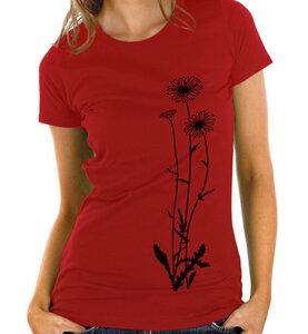 Blumen T-Shirt in rot & schwarz  / Figurbetont - Picopoc