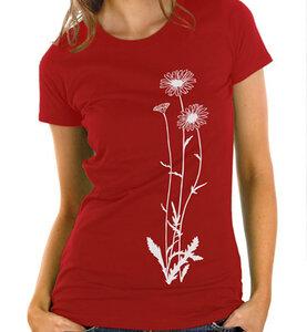 Blumen T-Shirt in rot & weiß  / Figurbetont - Picopoc