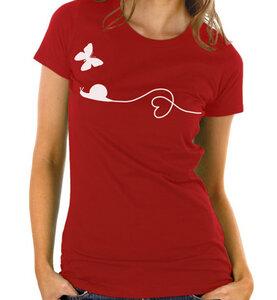 Schnecke  Schmetterling T-Shirt in rot - Picopoc