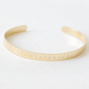 Armreif Schwesterherz aus Edelstahl vergoldet glänzend  - Oh Bracelet Berlin