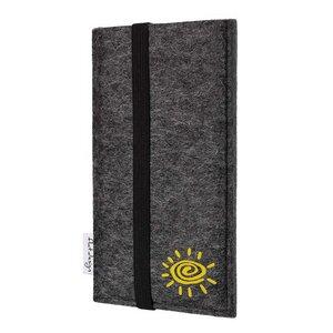 Handyhülle COIMBRA mit Sonne für Huawei P-Serie - VEGAN - Filz Tasche - flat.design