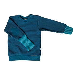 Sweatshirt Piquestoff Bio-Baumwolle Langarmshirt Donaublau - Leela Cotton