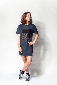 """Kleid (Long-Shirt) """"FUCK FAST FASHION"""" FAIR & BIO - FREIRAUMREH"""