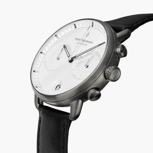 Chronograph Pioneer Anthrazit | Weißes Ziffernblatt - Lederarmband - Nordgreen Copenhagen