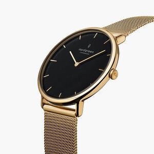 Armbanduhr Native Gold | Schwarzes Ziffernblatt - Mesharmband - Nordgreen Copenhagen