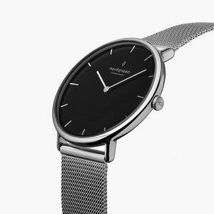 Armbanduhr Native Lille Silber | Schwarzes Ziffernblatt - Mesharmband - Nordgreen Copenhagen