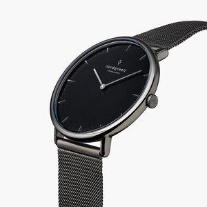 Armbanduhr Native Lille Anthrazit | Schwarzes Ziffernblatt - Meshband - Nordgreen Copenhagen