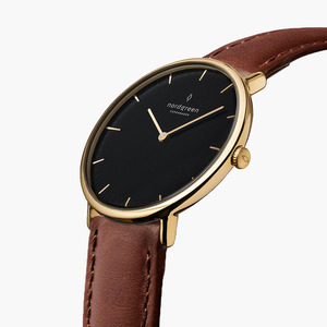 Armbanduhr Native Lille Gold | Schwarzes Ziffernblatt - Veganes Leder - Nordgreen Copenhagen
