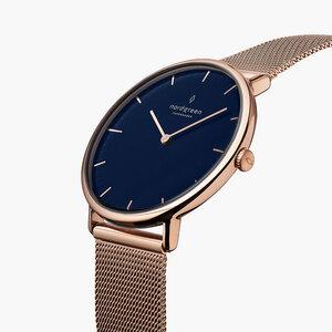 Armbanduhr Native Lille Roségold | Blaues Ziffernblatt - Mesharmband - Nordgreen Copenhagen