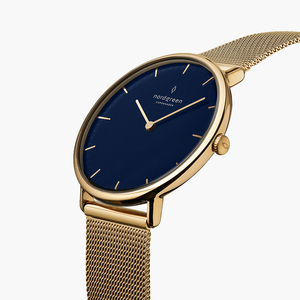 Armbanduhr Native Lille Gold | Blaues Ziffernblatt - Mesharmband - Nordgreen Copenhagen