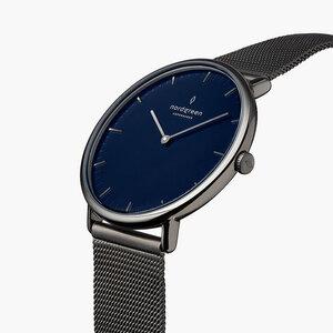 Armbanduhr Native Lille Anthrazit | Blaues Ziffernblatt - Mesharmband  - Nordgreen Copenhagen