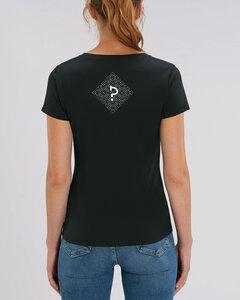 "Bio Damen T-Shirt mit V-Ausschnitt ""Evolution - Geo Questionmark""  - Human Family"
