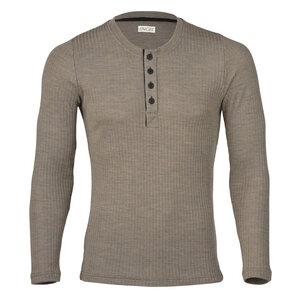 Herren Shirt Langarm mit Knopfleiste Bio-Schurwolle/Seide - Engel natur