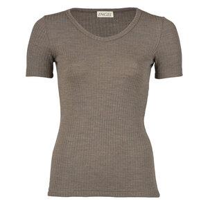 Damen Shirt Kurzarm mit V-Ausschnitt Bio-Schurwolle/Seide - Engel natur