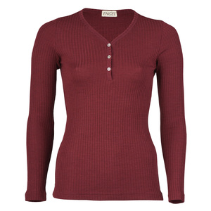 Damen Shirt Langarm mit Knopfleiste Bio-Schurwolle/Seide - Engel natur