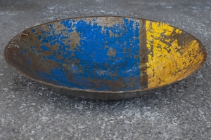 Schale aus recycelten Ölfässern ca. 38 cm / Post-Oil Industrial Upcycling - Moogoo Creative Africa