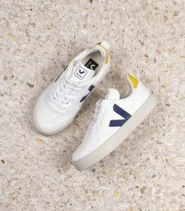 Sneaker Vegan - V-10 Lace - White Cobalt Yellow - Kids - Veja