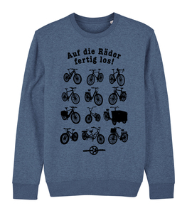 Auf die Räder fertig los - Fair Wear Unisex Sweater - Dark Heather Blue - päfjes