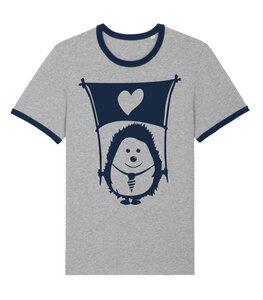 Igel Ingo mit Fahne der Liebe - Fair Wear Unisex T-Shirt - päfjes