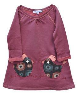 Kleid Langarm Mädchen alt rose 100% Baumwolle ( bio)  - Enfant Terrible